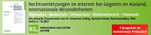 Banner: IP-Rechtsberater - IPRB (Probeabo)