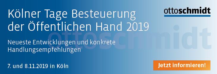 Kölner Tage Besteuerung der Öffentlichen Hand 2019 - 07.-08.11.2019