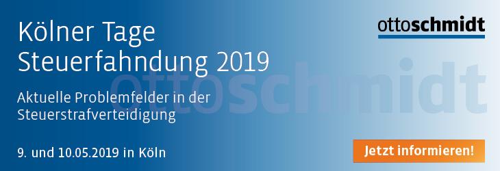 Kölner Tage Steuerfahndung 2019 - 09.-10.05.2019