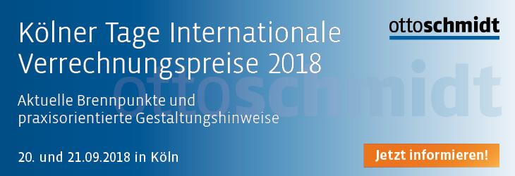 Kölner Tage Internationale Verrechnungspreise 20.-21.09.2018