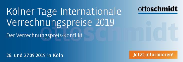 Kölner Tage Internationale Verrechnungspreise 2019 - 26.-27.09.2019