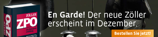 Banner: Neuauflage Zöller, Zivilprozessordnung. Kommentar