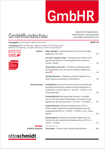 GmbHRundschau - GmbHR (Probeabo)