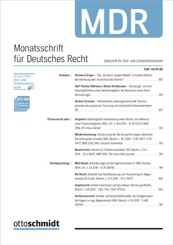 Monatsschrift für Deutsches Recht - MDR (Probeabo)