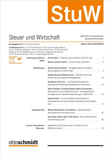 Steuer und Wirtschaft - StuW (Probeabo)