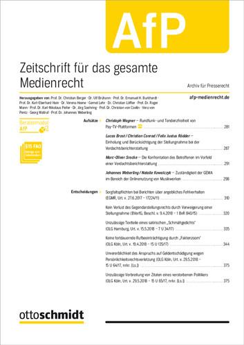 AfP - Zeitschrift für das gesamte Medienrecht (Probeabo)