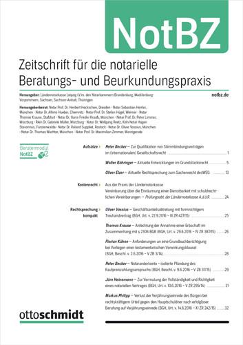 NotBZ - Zeitschrift für die notarielle Beratungs- und Beurkundungspraxis (Probeabo)