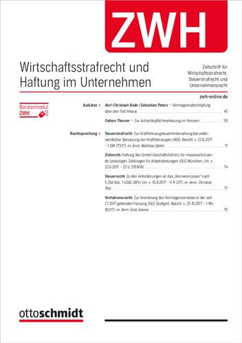 ZWH - Wirtschaftsstrafrecht und Haftung im Unternehmen (Probeabo)