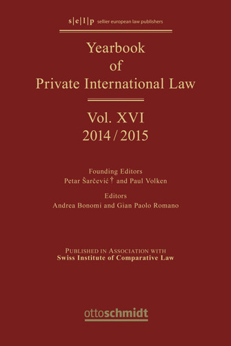 Yearbook of Private International Law Vol. XVI - 2014/2015