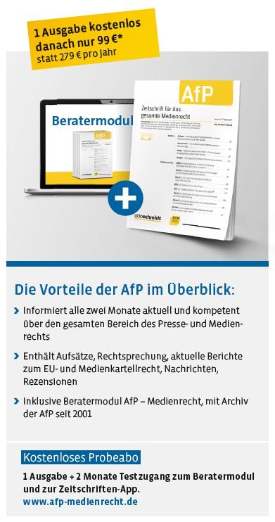 AfP - Zeitschrift für das gesamte Medienrecht Starter-Angebot